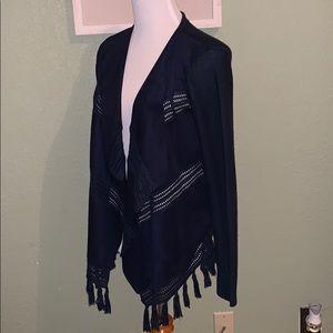 New York & Company Sweaters - Navy mixed texture cardigan